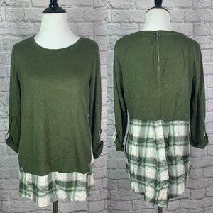 Cato Green Plaid Mixed Media Top Shirt size Small